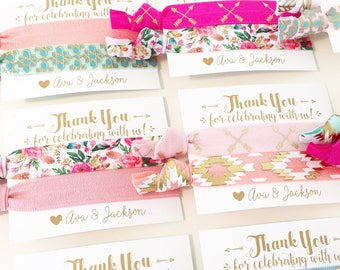 Bohemian Birthday Party Hair Tie Favors | Custom Birthday Hair Tie Favors, Bohemian Floral Arrow Feather + Tribal Personalized Party Favors