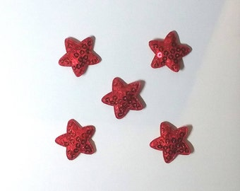 5 pcs Red Sequin Star Applique Sparkly Star Embellishments Star Craft Embellishment Red Star Embellishment Shiny Stars Sewing Embellishments