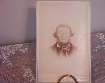 Civil War Era Cabinet Card Serious Man with Beard 1800's Photography MacNair Family Ancestor Scottish Descent Heritage Instant Relatives
