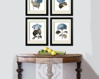 House Staging idea,Blue Hydrangea Botanical Art set of 4 prints, wedding gift, housewarming gift, wall art, home decor hydrangea decor
