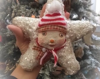 """SALE Vintage Christmas Inspired OOAK Collectible Clay """"Snowstar"""" Snowman Ornament by DCBArtstudio"""