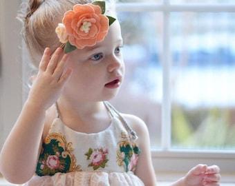 Baby's floral headband - peach and cream - floral headband - peach peony with Buttercream rose bud