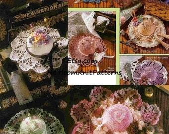 8 Designs Pincushions Vintage Crochet Pattern Antique Easy Miniature Hat Designs  Instant download PDF Crochet Pattern - 1094