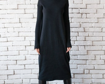 aa70ad9743f NEW Long Loose Dress Black Maxi Dress Long Sleeve Oversize Tunic Casual  Black