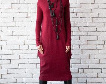 Burgundy Long Dress/Loose Long Sleeve Tunic/Extravagant Wine Kaftan/Plus Size Maxi Dress/Dark Red Casual Dress/Warm Polo Dress/Long Top