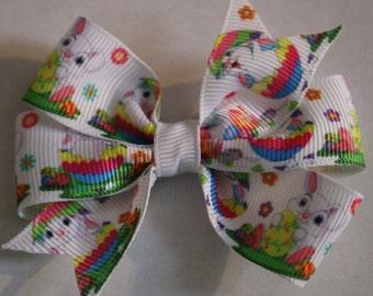 Easter Hair Bow, Easter Bunny Hair Bow, Bunny Hair Bow, Easter Egg Hair Bow