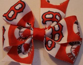 Boston Red Sox Hair Bow, Red Sox Hair Bow, Sox Hair Bow, Boston Hair Bow, Red Sox Bow, Baseball Hair Bow