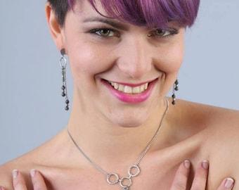 Necklace minimalist cascades stainless steel and gemstone Labradorite Boho jewelry By Dodie