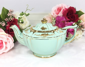 RARE Mint Green Sadler Teapot Made in England # 1992 For Tea Party, Wedding, Shower, Anniversary, English Teapot #509