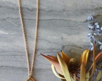 Pendant Necklace, Geometric, Multi-Toned, Minimalist Jewellery, Alchemy, Rose Gold, Rhodium, Gunmetal Stainless Steel, Brass