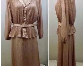 60s Leslie Pomer Gold Dress Suit Peplum Top Size 20