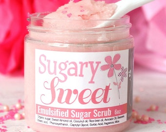 Emulsified Sugar Scrub, Pink Sugar Body Scrub, Cotton Candy Sugar Scrub, Pink Shower Scrub, Hand Scrub, Mothers Day gift for her