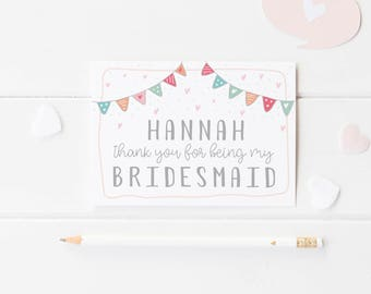 Bunting Bridesmaid Card, Thank You For Being My Bridesmaid, Flower Girl Card, Maid Of Honour Wedding Card, Bridesmaid Card, Bunting Wedding