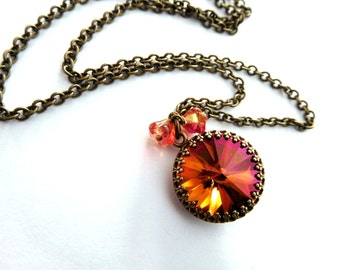 Fall colors crystal pendant necklace - antique brass chain, big fiery rhinestone, tiny flower dangles. Autumn jewelry, crystal jewelry