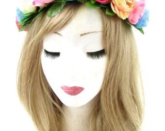 Pink Blue Cream Ranunculus Rose Flower Headband Hair Crown Festival Garland 725