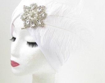 White Silver Feather Turban Headpiece Flapper Vintage 1920s Rhinestone Pearl 910