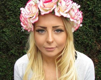 Large Hot Pink Cream White Baby's Breath Gypsophila Rose Flower Headband 2012