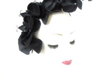 Black Orchid Flower Fascinator Statement Headpiece Races Headband Hair Band 2190