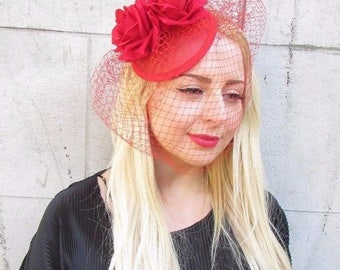 Red Rose Birdcage Veil Flower Fascinator Races Headpiece Hair Clip Hat 50s 2374