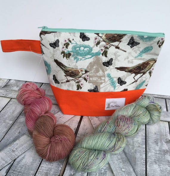 Project Bag,Small knitting Project bag,Spring Birds knitting bag,Sock Bag,crochet project bag,knitting bag,Toad Hollow Bags, Wedge Bag
