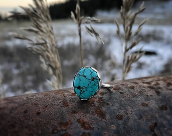 SALE Turquoise 925 Sterling Silver Ring Sz 6 US, Gift for Mom, Boho, Gift for Her, Ooak, Rustic, Nature Jewelry, Primal Montana