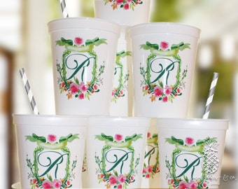 Personalized Cups | Monogram Cups | Custom Party Cups | Personalized Plastic Cups | Wedding Party Cups | Party Favor Cups | Monogrammed Cups