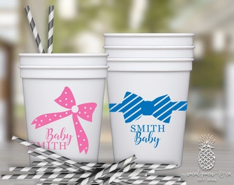 Baby Shower Cups | Personalized Plastic Cup | Monogram Cups | Bows or Bow Ties Party Favor Cups | Party Cups | social graces and Co.