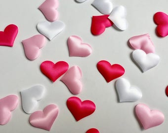 50 PACK - Pink Ombre Fabric Heart Confetti // Baby Shower // Wedding