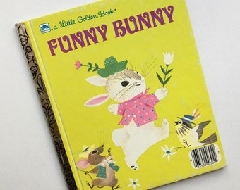 Collectible Alice and Martin Provensen Illustrated Little Golden Book ~ Funny Bunny ~ A Bunny Gets a Tail ~ Mid Century Illustrations