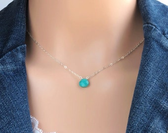 Dainty Turquoise Choker Necklace, Sleeping Beauty Turquoise - Sterling Silver, Gold, Rose Gold December Birthstone Necklace