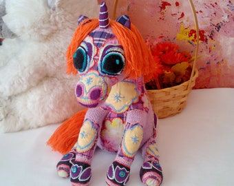 Hand knitted little Unicorn toy - soft toy, plush toy, stuffed toy