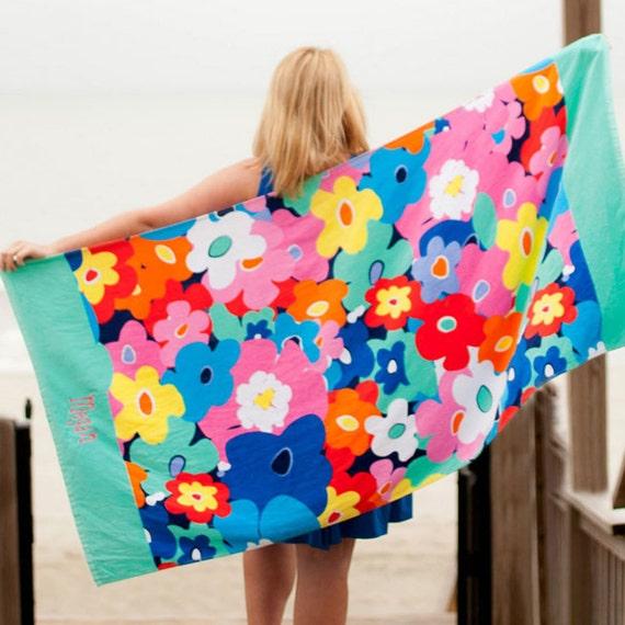 Beach Towel, Monogrammed Beach Towel, Floral Beach Towel, Monogrammed Towel, Pool Towel, Bridesmaid Gifts, Weddings, Highway12Designs