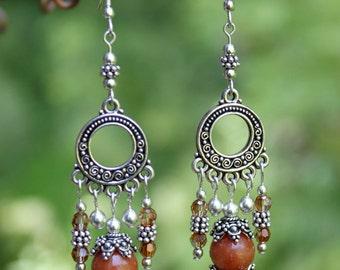 Silver, Jade and Swarovski Crystal Chandelier Earrings