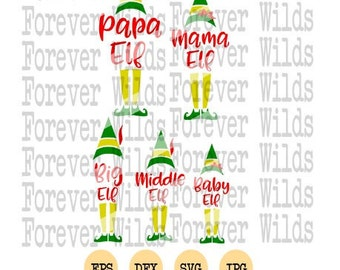 Christmas Family SVG -  Elf SVG  Christmas SVG - Elf legs svg, Buddy Elf svg - Cut File -  png - eps - dxf -Elf legs