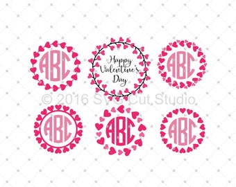 Valentines Day SVG, Heart SVG, Hearts Monogram Frames SVG, Hearts Wreath svg, Love svg Cut Files for Cricut and Silhouette, svg files