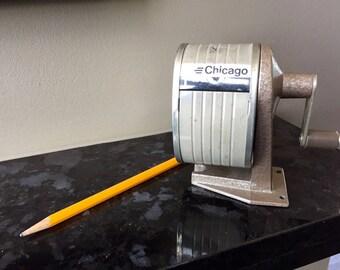 Vintage PENCIL SHARPENER, Chicago APSCO Sharpener, Industrial Office Equipment, Metal Pencil Sharpener