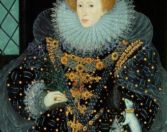 "William Segar ""Elizabeth I England"" Queen of England and Ireland 1585  Reproduction Digital Print Ruler England"