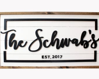 Custom Family Sign w/ BORDER - Shiplap - Digital Proof Included! - Established Sign - Wood Sign - Rustic Sign - Farmhouse - Fixer Upper