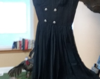 1950s Little Black Evening Dress - Size 12
