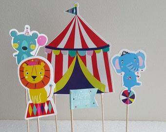 Decorative Cake Topper Circus Theme 5pcs