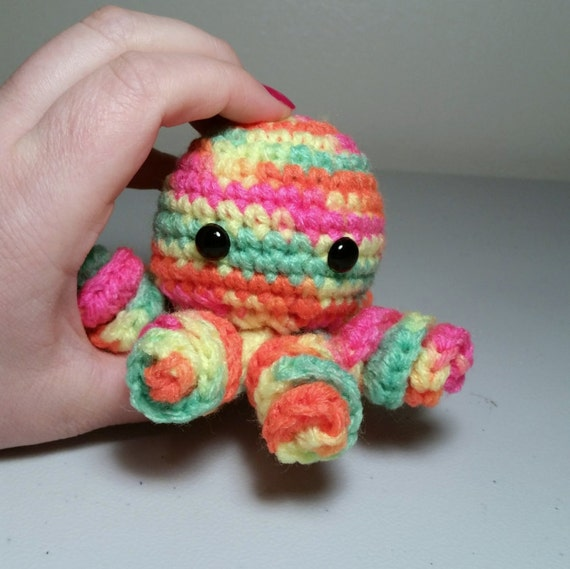 Mini Amigurumi Octopus : Mini Crochet Octopus Amigurumi NEON RAINBOW Octopus Plush