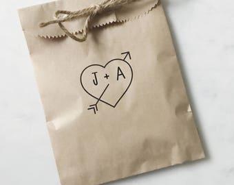 Wedding Favor Bags! - Rustic Heart & Arrow - Favor Bags - Custom Printed on Kraft Brown Paper Bags