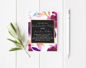 Bachelorette Party Invitation Hens Party Invitation Wedding Party Invitation Watercolor Floral Deep Mustard Pink Soft Blue Printable