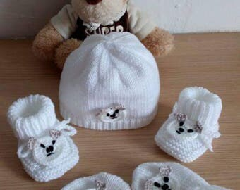 Set bonnet booties mittens 0-3 months baby