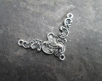 Ornate silver Y necklace connector V shaped necklace connector sold per piece