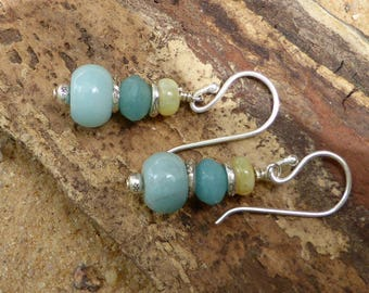 Amazonite Earrings Yellow Opal Earrings Hill Tribe Silver Sterling Silver Leverback Jewellery Blue Yellow Artisan Gemstones Designer Boho