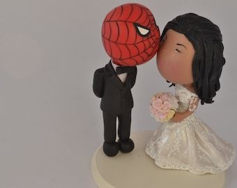 Spiderman Groom and his bride. Wedding cake topper. Wedding figurine. Bride and Groom. Handmade. Fully customizable. Unique keepsake
