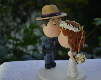 Wedding cake topper. State Trooper and Hippie bride. Couple kissing. Formal uniform . Handmade. Fully customizable. Unique keepsake.