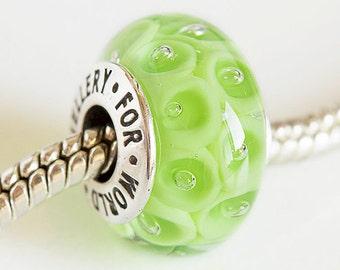 Artisan Lampwork glass beads. Silver core beads. Large hole beads.  Handmade glass beads, European bracelet beads. Fits Pandora, Green beads