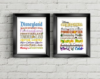 PRINTABLE Disneyland & California Adventure LANDS Art Print, Colorful and Fun!